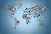 Photo Draw a map of the world made up of spare parts
