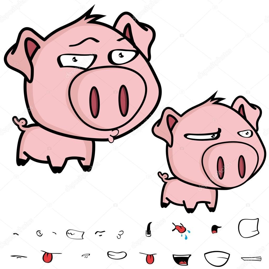 grumpy little big head pig cartoon stock vector hayashix23
