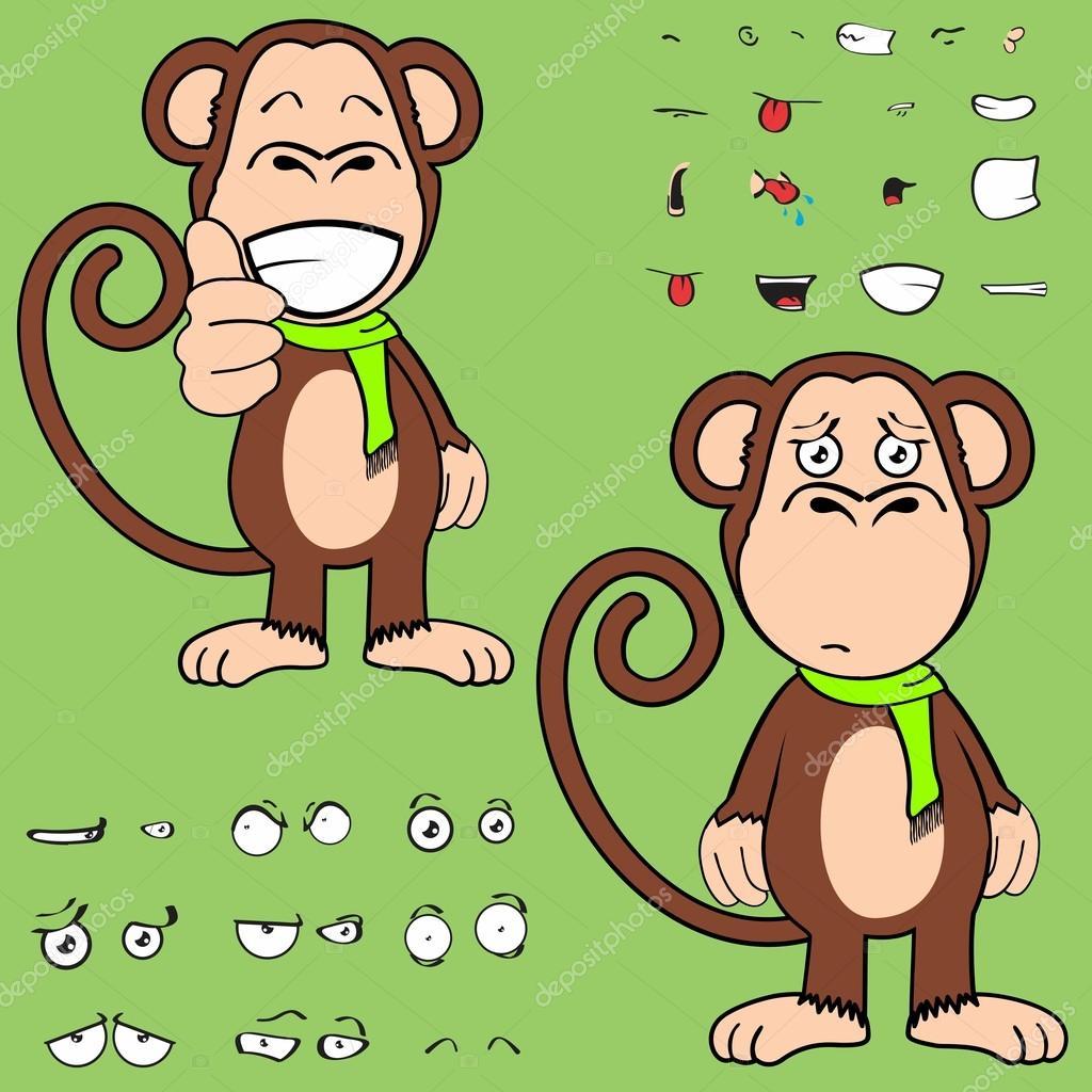 Tatlı Maymun çizgi Film Ifadeler Kümesi Stok Vektör Hayashix23