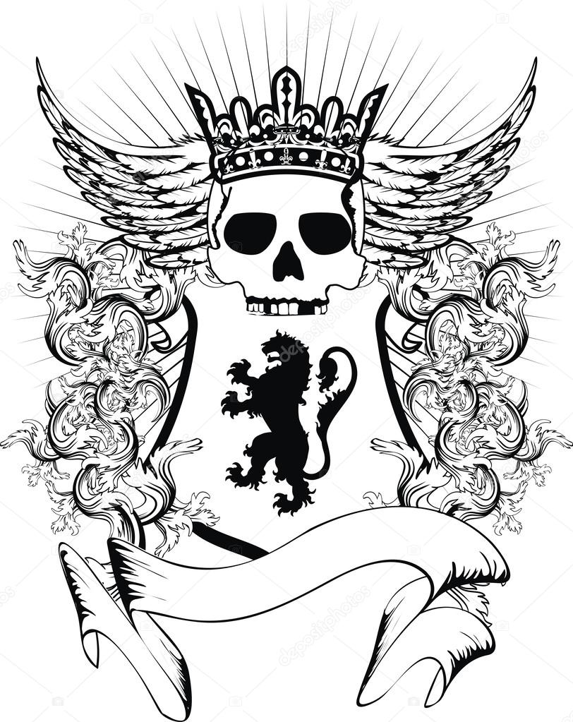 5c074d036a39a Heraldic coat of arms shield lion skull in vector format very easy to edit  — Vector by hayashix23