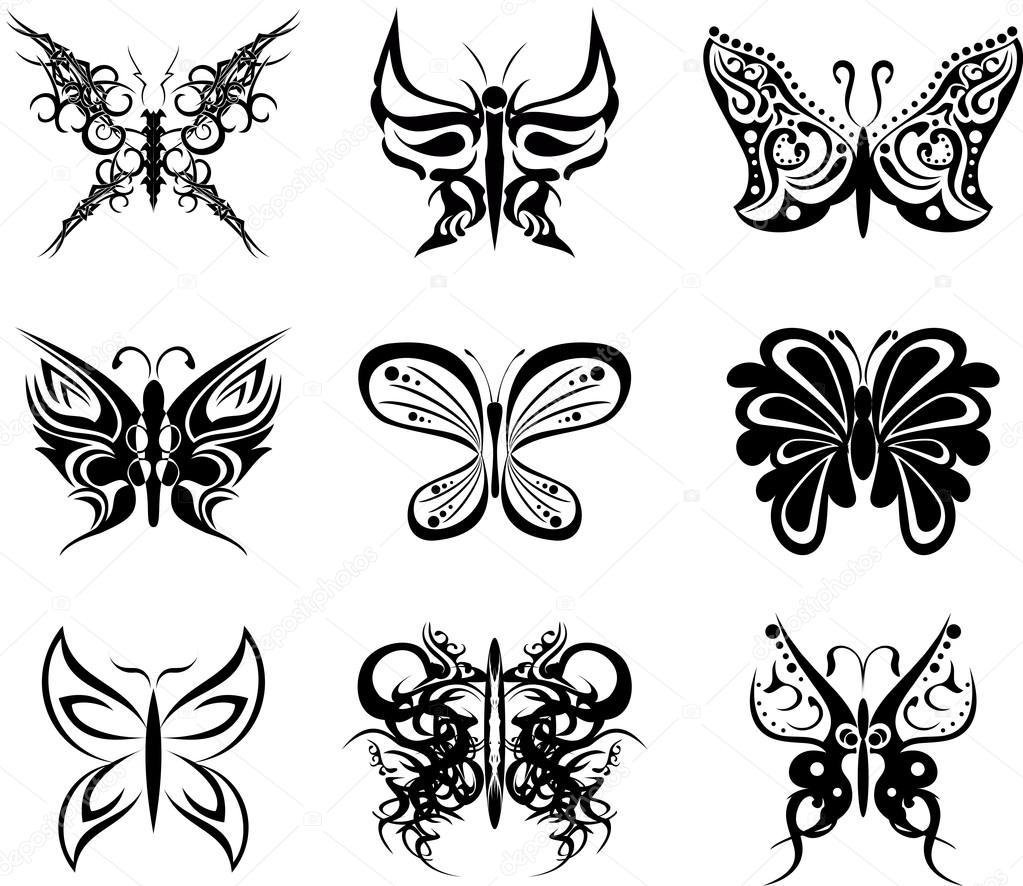 Tatuaż Motyl Zestaw Pakiet Stickers1 Grafika Wektorowa