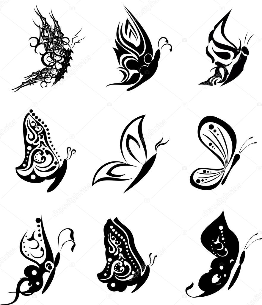 sideways butterfly tattoo stencil pictures to pin on pinterest tattooskid. Black Bedroom Furniture Sets. Home Design Ideas