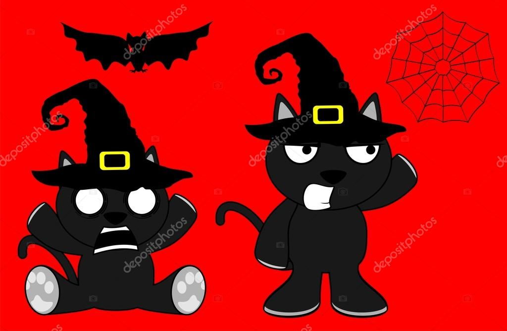 Chat Noir Halloween Dessin Anime Set9 Image Vectorielle Hayashix23