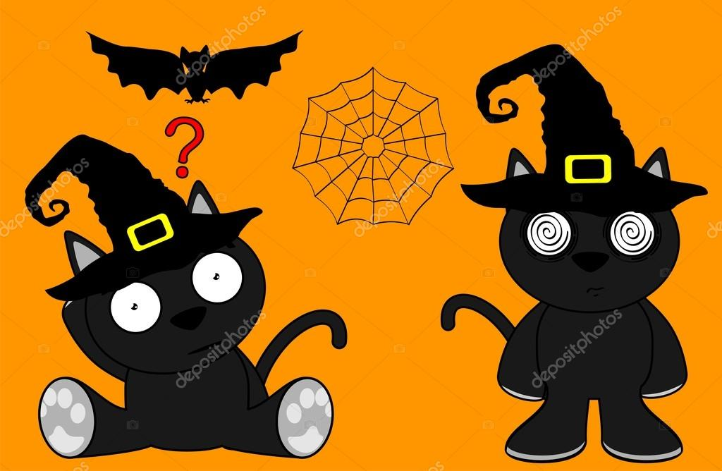 Chat Noir Halloween Dessin Animé 8 Image Vectorielle Hayashix23