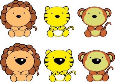Cute baby jungle animals cartoon set