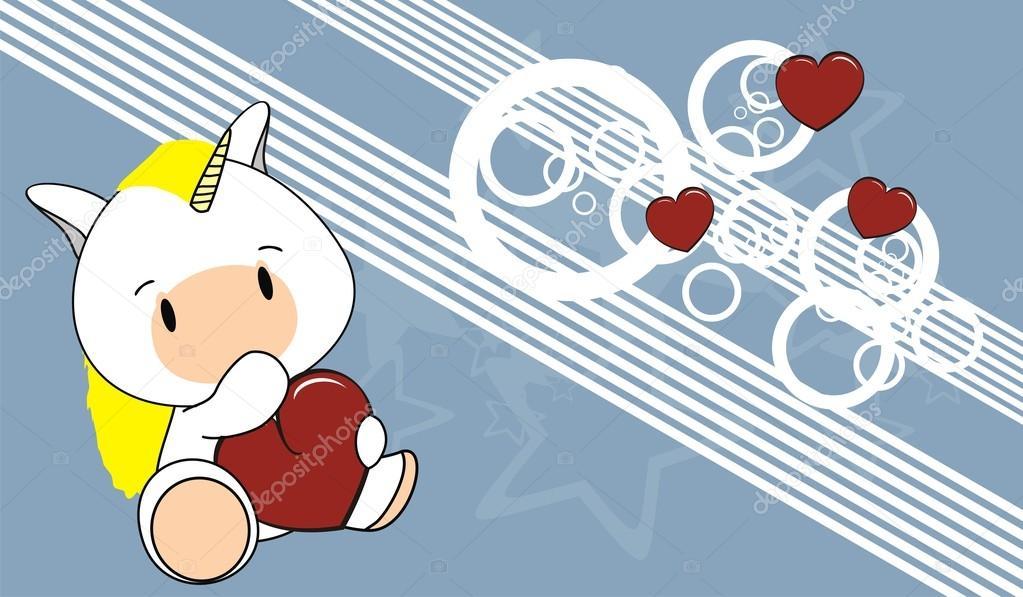 Fond De Valentine Joli Bébé Licorne Dessin Animé Image