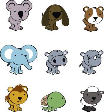 cute animals baby cartoon set
