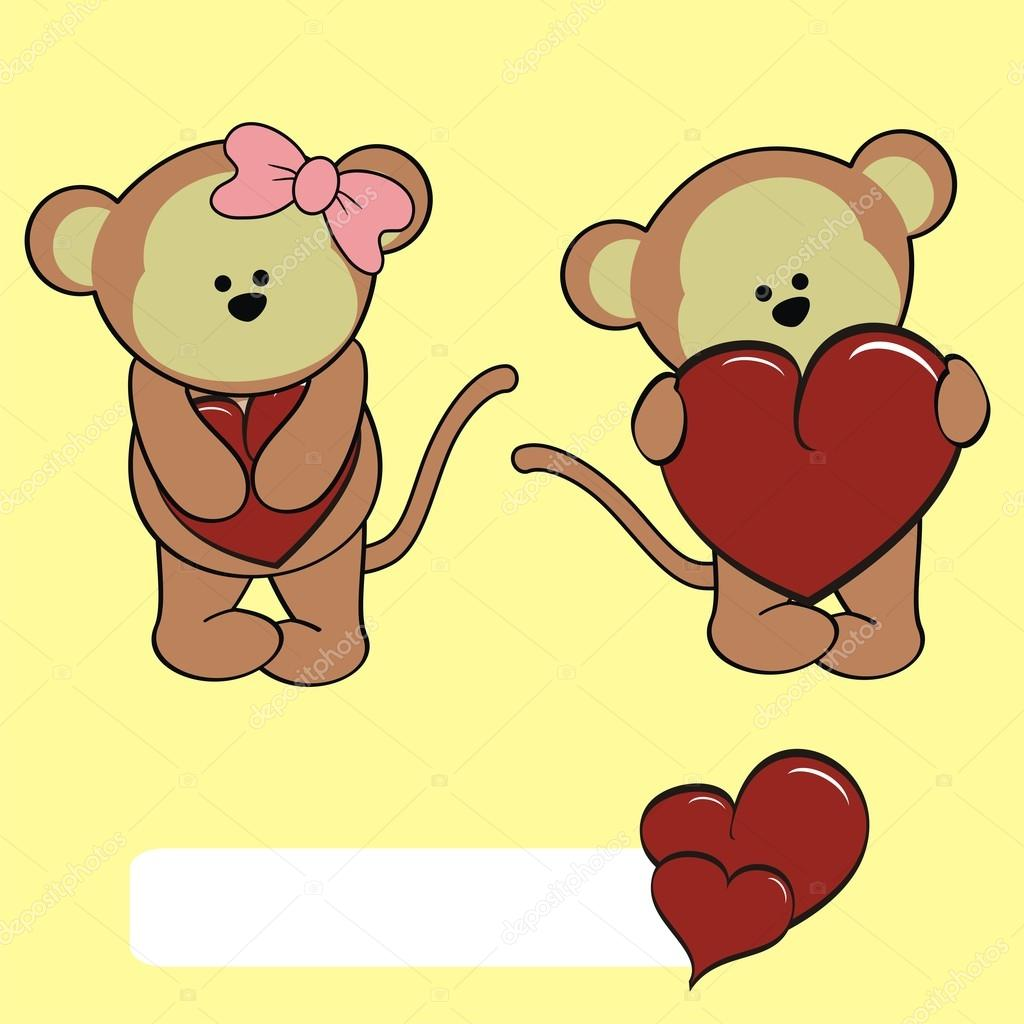 Cute giovane scimmia cartone animato san valentino cuore