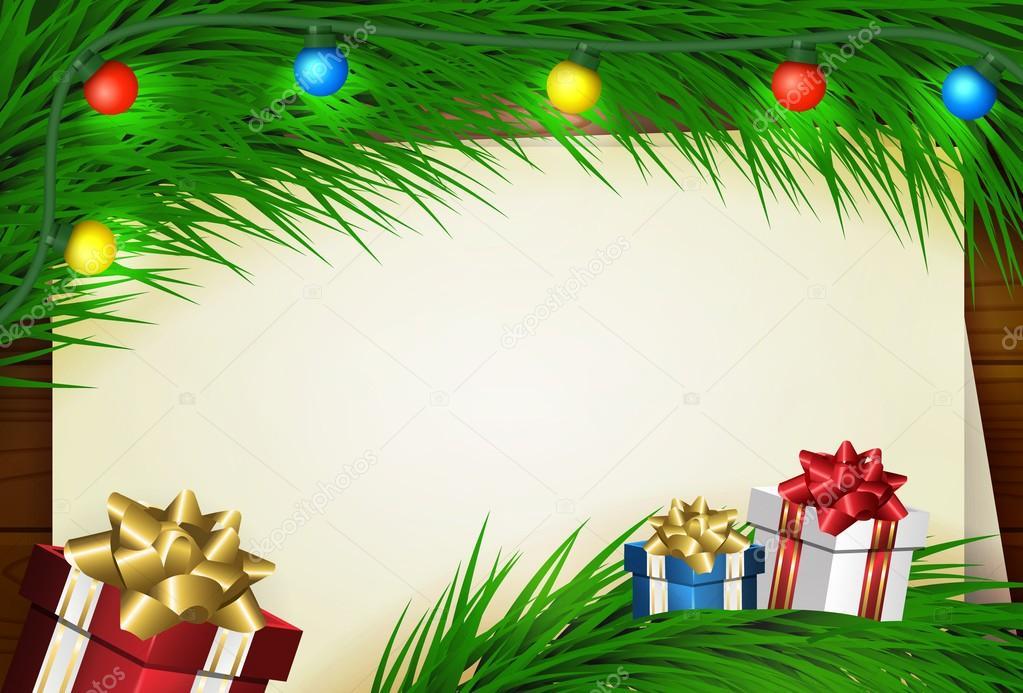 Fondo de Navidad con marco para imagen y texto — Archivo Imágenes ...