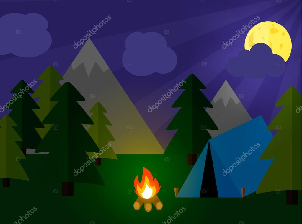 Camping tourism concept with stan and campfire