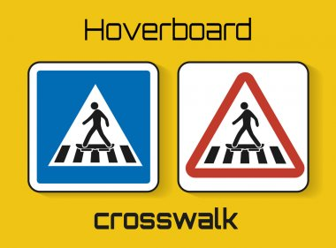 Set of hoverboard crosswalk signs