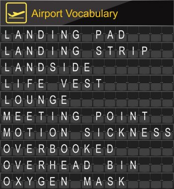 Airport Vocabulary on airport boarding
