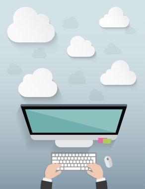 Workplace with cloud idea