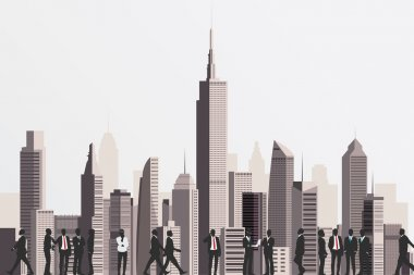Silhouettes of business people with skyscraper building on backd