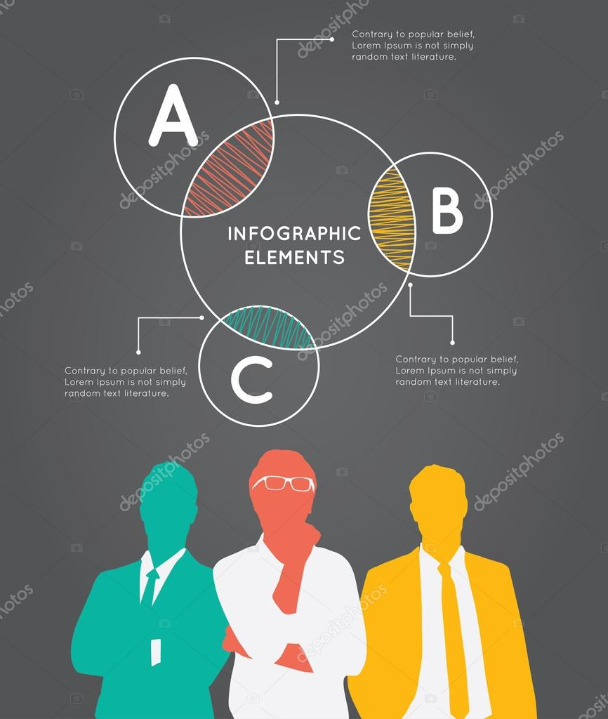 Color Silhouettes of Businessman with pie concept.