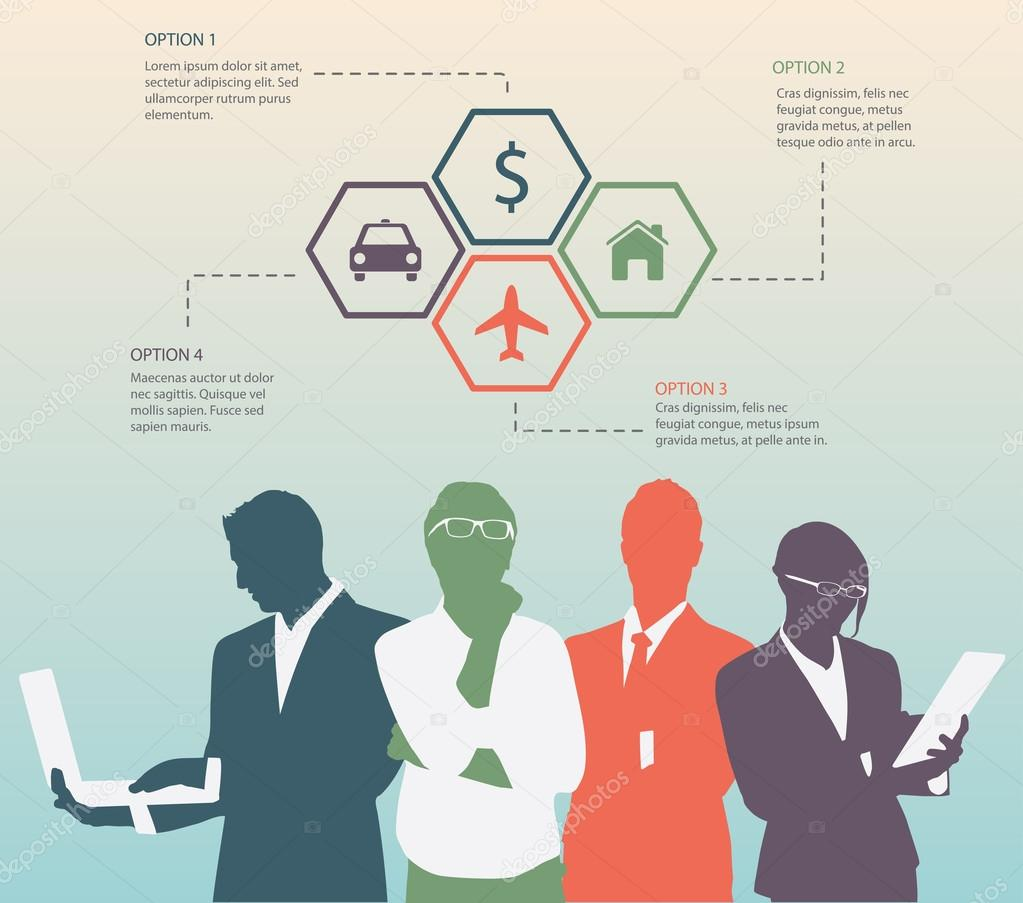 Four options concept for Businessman and businesswoman