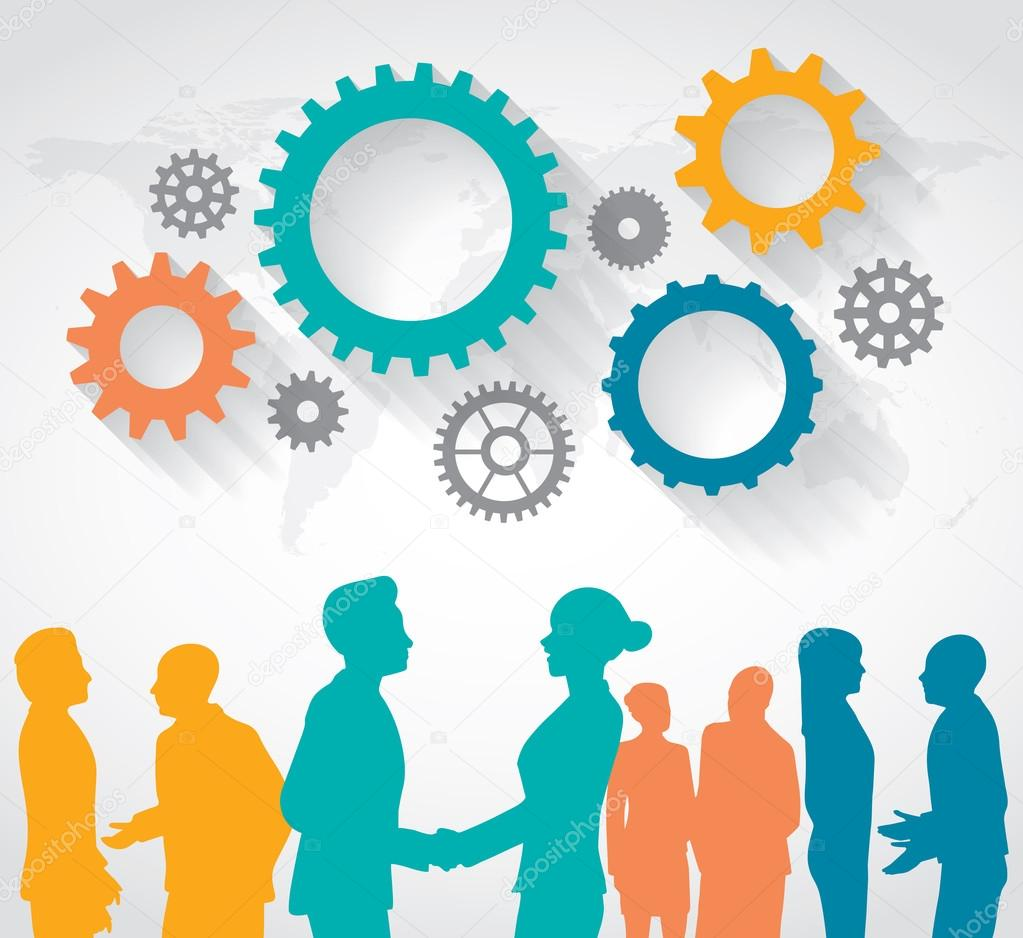 Business People talking with above of gears