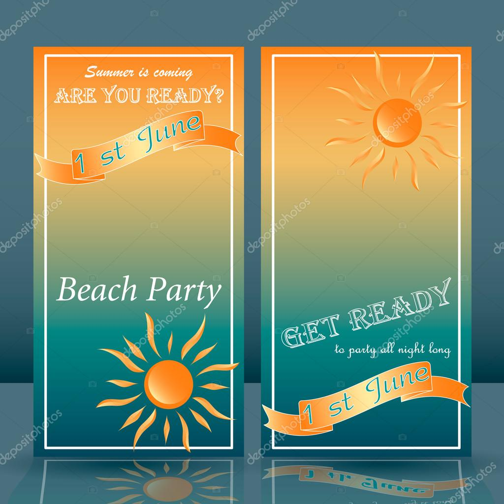 summer time beach party flyer yellow and blue background