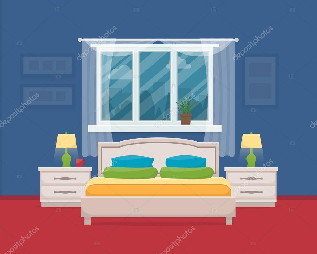Camera da letto con mobili e finestre u2014 vettoriali stock © elvetica