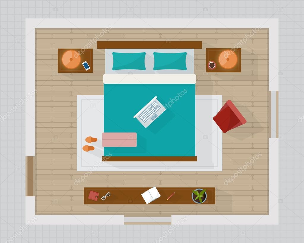 Furniture top view images - Bedroom With Furniture Overhead Top View Apartment Plan Flat Style Vector Illustration Vector By Elvetica