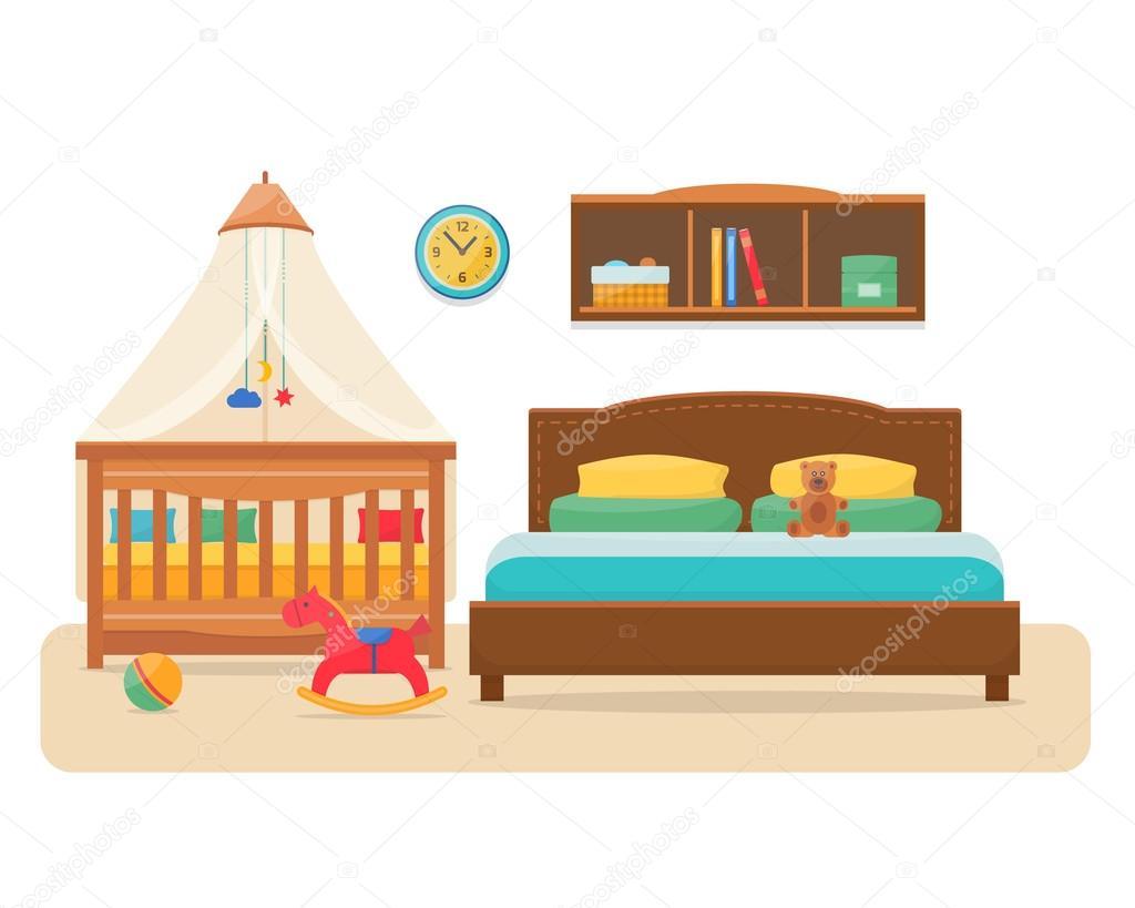 Schlafzimmer mit Babybett und Kinderbett Eltern ...