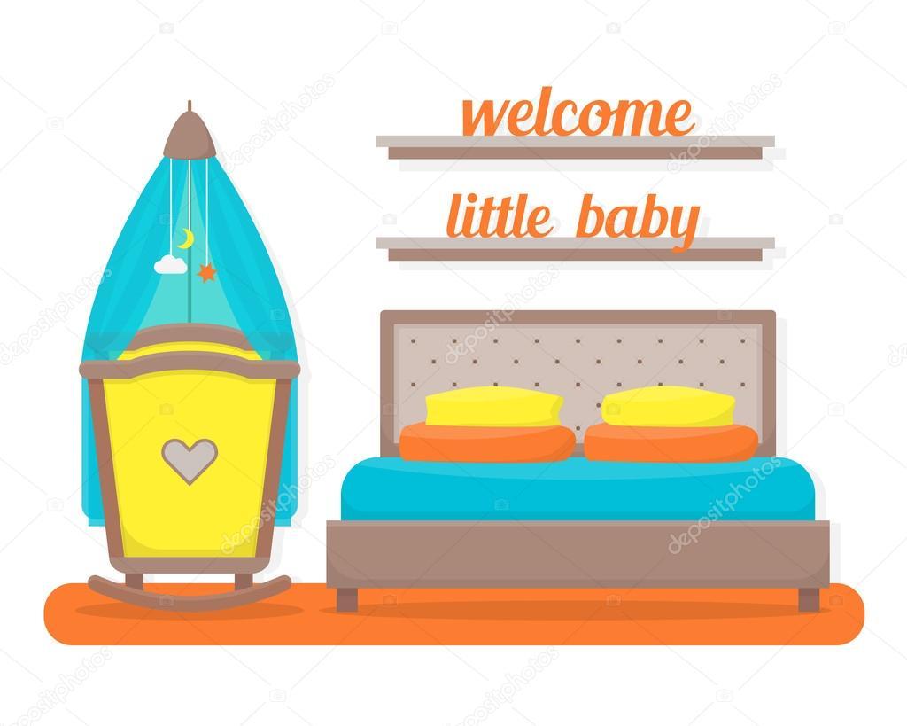 slaapkamer met ouders bed en baby cot stockvector