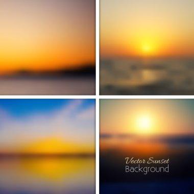 Sunset blurred background set.