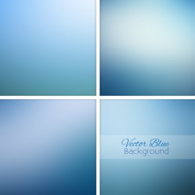 Blue abstract blurred background set.