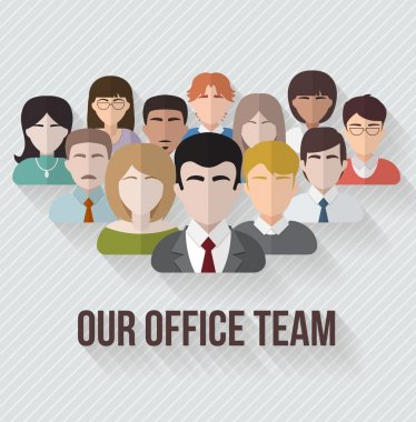 People avatars group icons in flat style. Different male and female faces in office team. Vector illustration. clip art vector
