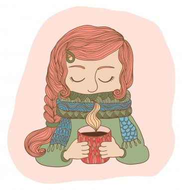 Winter girl in scarf with a cup of hot tea, vector illustration clip art vector