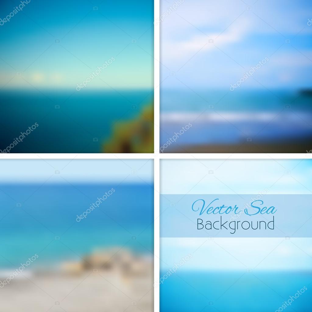 Sea blurred background set.