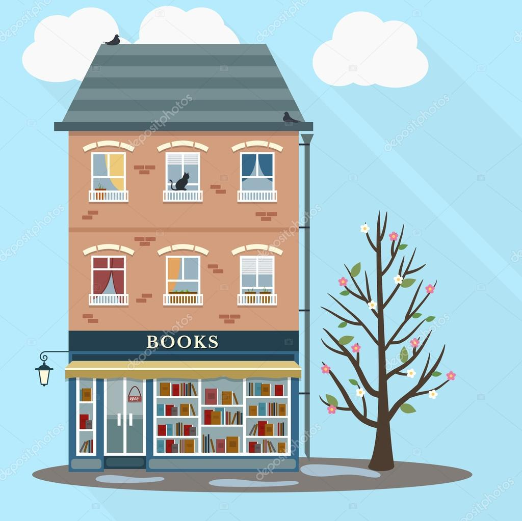 Spring retro house with book shop