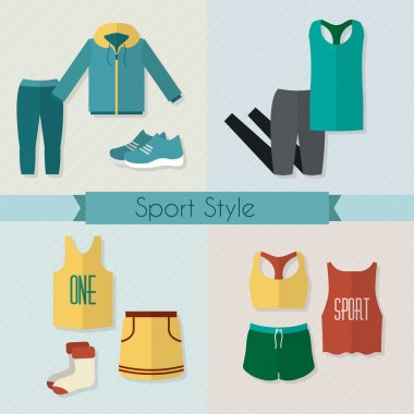 Sport clothing icons set.