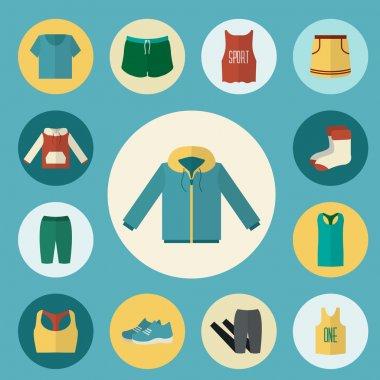 Sport clothing icons set