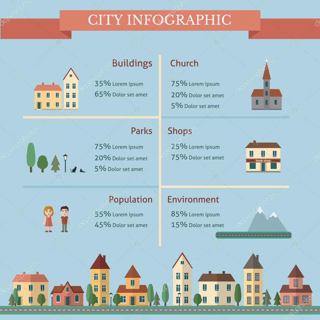 City infographic with street and houses