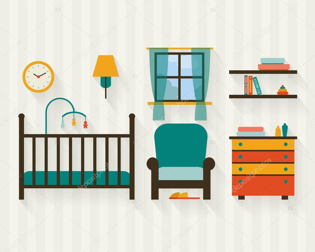 Habitación de bebé con muebles — Vector de stock © Elvetica #64471133