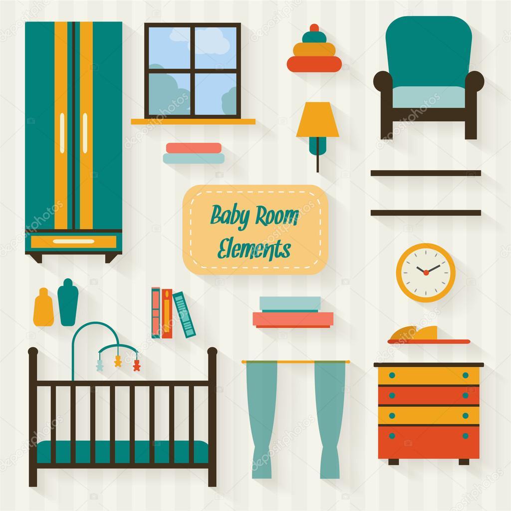 Habitación de bebé con sistema de iconos de muebles — Archivo ...