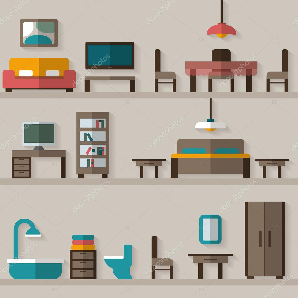 Furniture Icon Set For Rooms Of House. Flat Style Vector Illustration U2014  Vektor Von Elvetica