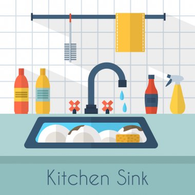 Dirty sink with kitchenware