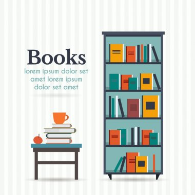 Book shelf and table with books