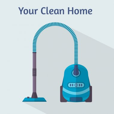 Vacuum cleaner in flat style