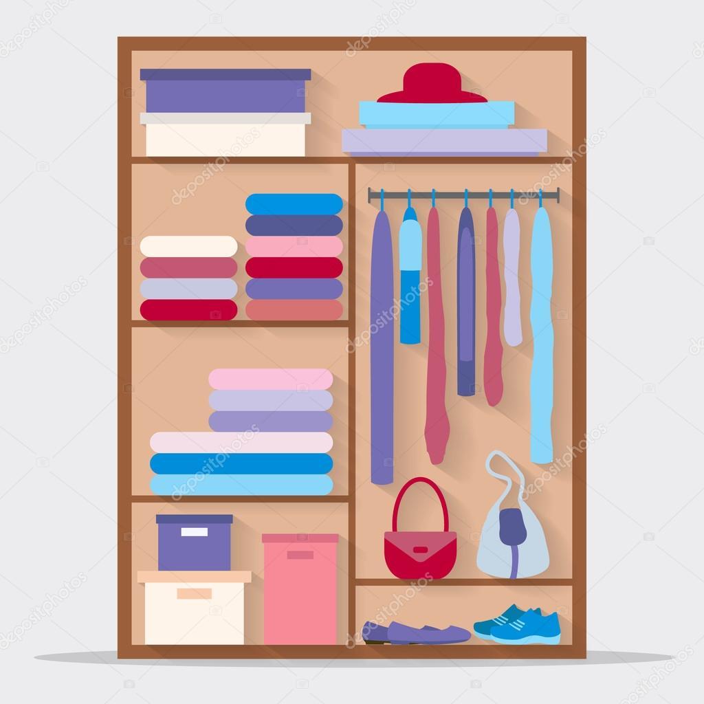 Schrank Mit Kleidung Taschen Boxen Und Schuhe Stockvektor