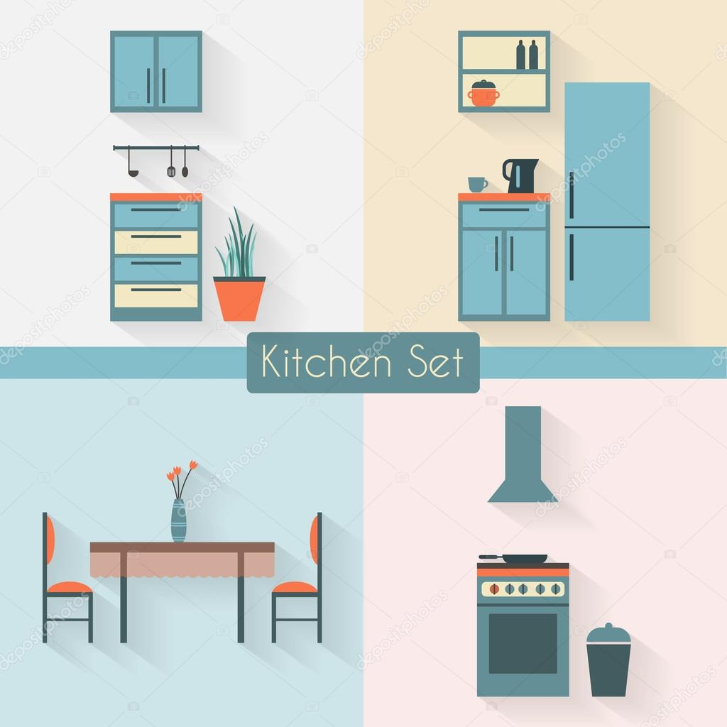 Kitchen set with furniture — Stock Vector © Elvetica #69624909