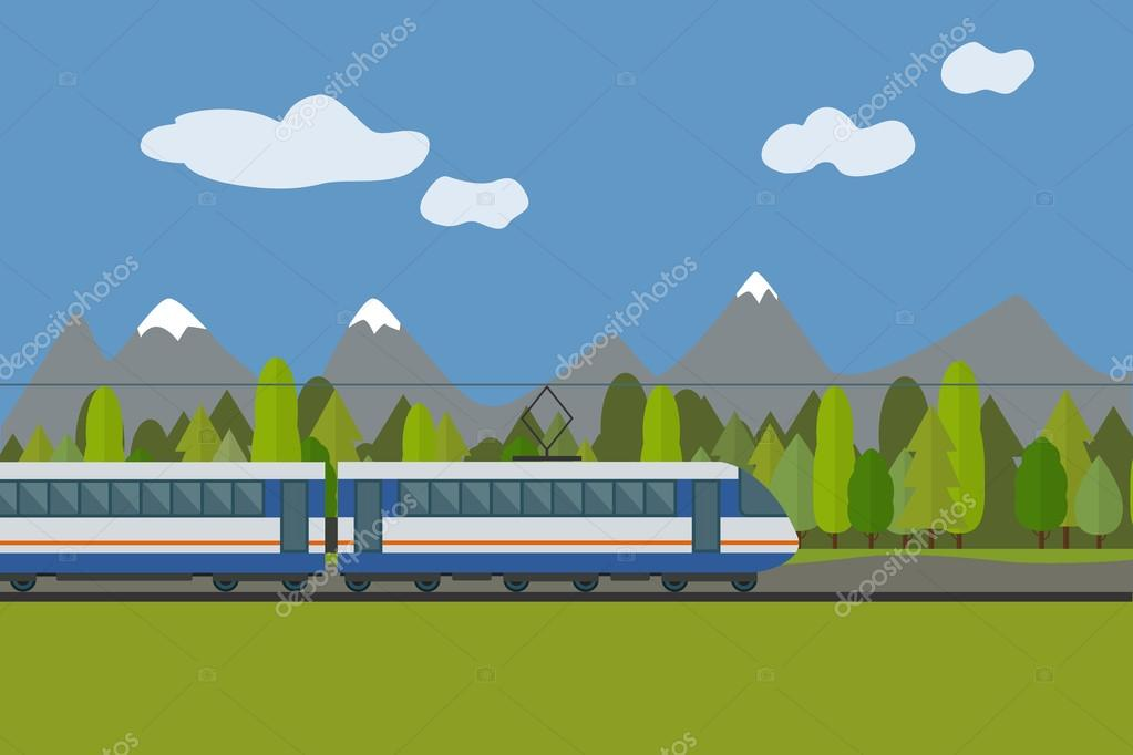 Train on railway with forest and mountains