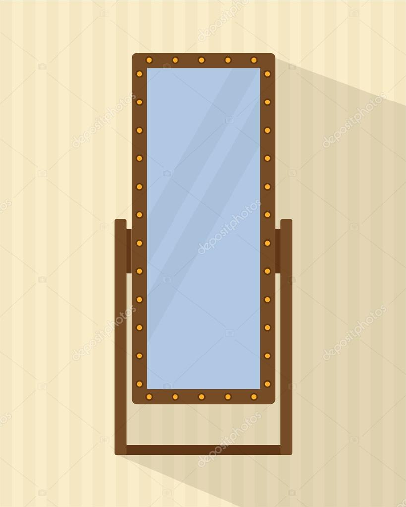 grote full length spiegel voor slaapkamer winkels achter de schermen vlakke stijl vectorillustratie vector van elvetica