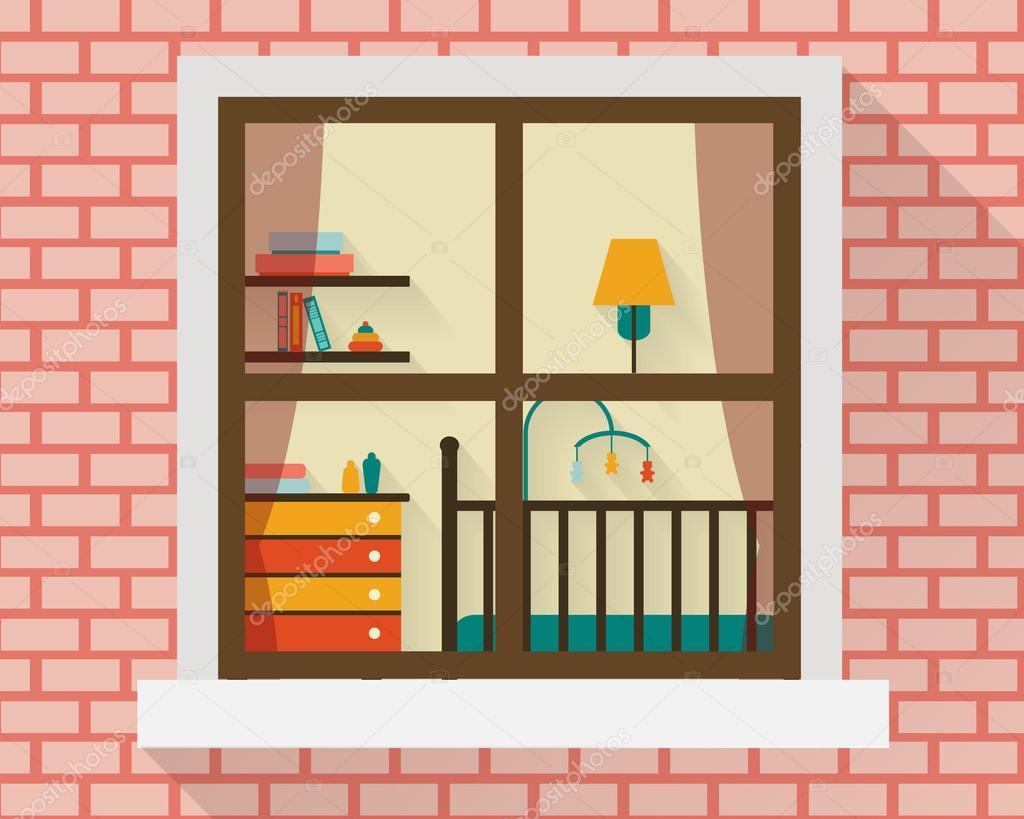 Baby Zimmer Mit Mobeln Durch Fenster Stockvektor C Elvetica 69625069