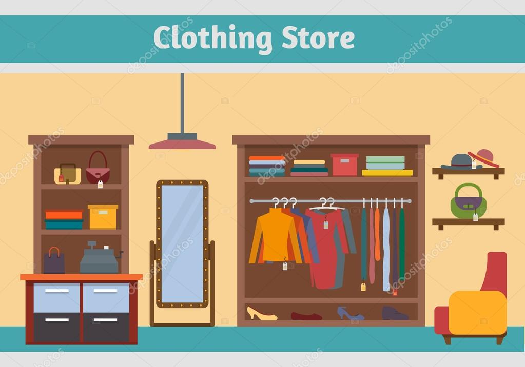 Man And Woman Clothes Shop Vector Image By C Elvetica Vector Stock 69625143