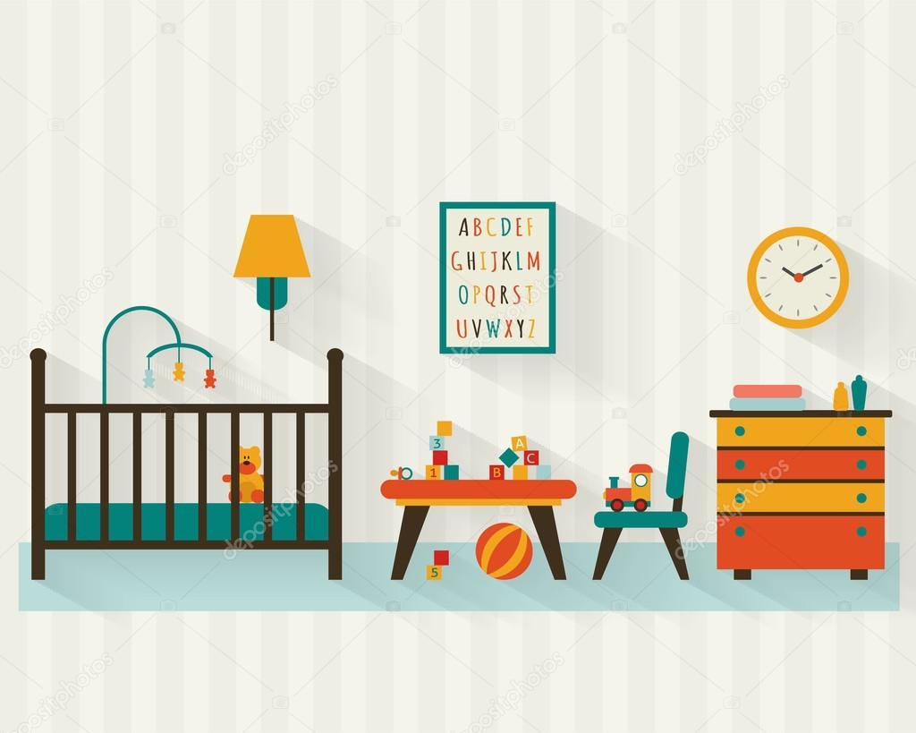 Habitación de bebé con muebles — Vector de stock © Elvetica #69625275