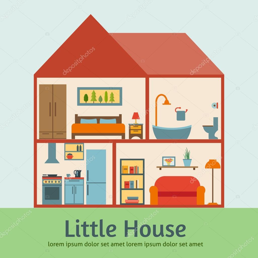Ausführliche moderne Haus innen — Stockvektor © Elvetica #69625421