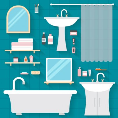 Bathroom icons with furniture